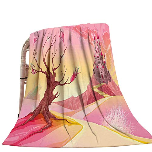 Fantasy Beach Blanket Princess Castle on Valley and Tree Fairytale Girls Childish Cartoon Design Swaddle Blanket Yellow Pale Pink 39