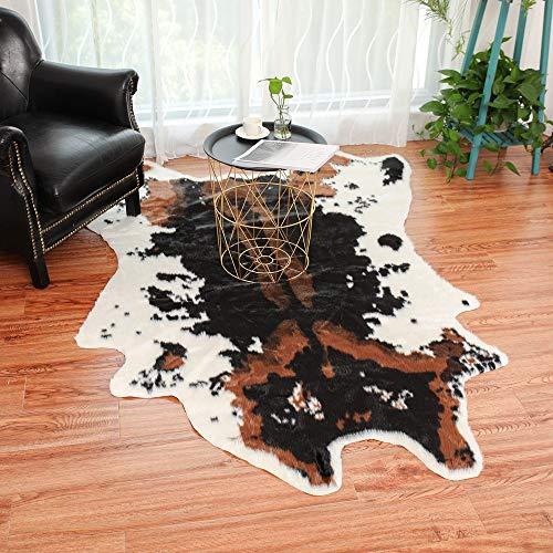 Cowhide Rug Cowskin Print Cow Hide Faux Carpet, Leopard Tiger Zebra Cow Hide Mat Rug Animal Printed Home Carpet (100x94CM, Brown)