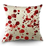 Moslion Halloween Pillows Decorative Throw Pillow Cover Horror Scary Zombie Polka Dot Spot Doodle Splashes of Blood Pillow Case 18x18 Inch Cotton Linen Square Cushion Cover for Sofa Bed Red