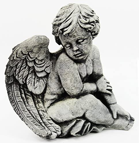 Fleur de Lis Garden Ornaments LLC Sitting Angel Concrete Statue