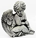 Fleur de Lis Garden Ornaments LLC Sitting Angel Concrete Statue For Sale