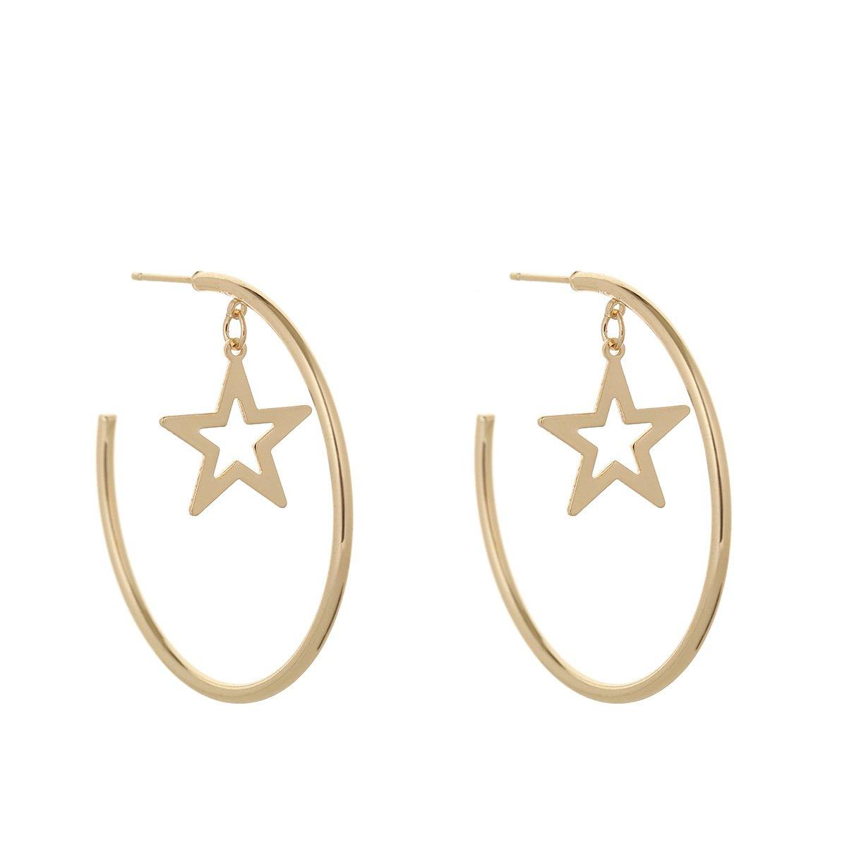Heart Hoop Earrings Large Geometric Dangle Hoops Earrings Fashion Earrings for Women F-U Fu80102-1