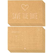 50-Pack Wedding Postcards - Kraft Paper - Save the Date, Blank on the Inside - Heart Design - 4 x 6 Inches