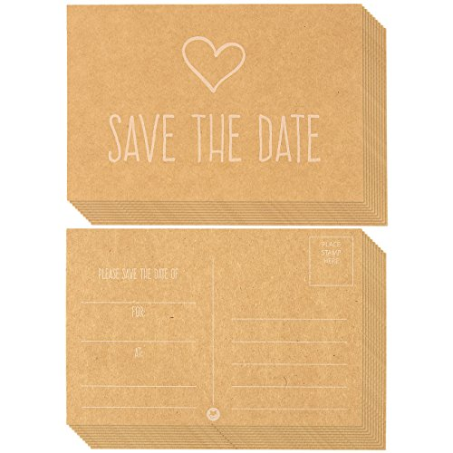 50-Pack Save the Date Postcards, Fill-In Reminder Cards Perfect for Weddings, Engagements, Baby Showers, Birthday Parties - Kraft Paper, 4 x 6 Inches ()