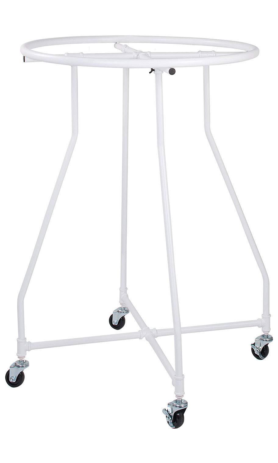 "SSWBasics Boutique White Pipe Round Clothing Rack - 48""H x 36"" Diameter"