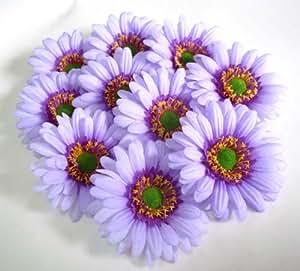 100 big silk purple gerbera daisy flower heads gerber daisies 3 5. Black Bedroom Furniture Sets. Home Design Ideas