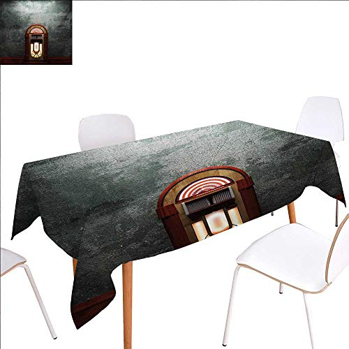 (familytaste Jukebox Customized Tablecloth Scary Movie Theme Old Abandoned Home with Antique Old Music Box Image Stain Resistant Wrinkle Tablecloth 70