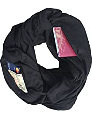 Smart Travel Scarf with Secret Pickpocket Proof Zipper Pockets