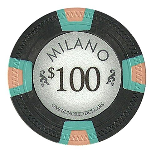 Claysmith Gaming $100 Clay Composite 10 Gram Milano Poker Chips - Sleeve of 25