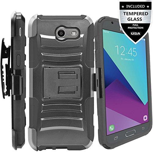 Galaxy J3 Prime Case,Galaxy J3 Eclipse / J3 Mission / J3 Emerge/Amp Prime 2 / Express Prime 2 / Sol 2 / J3 Luna Pro / J3 2017 Case,IDEA LINE Combo Holster Kickstand Belt Clip+Tempered Glass - Black