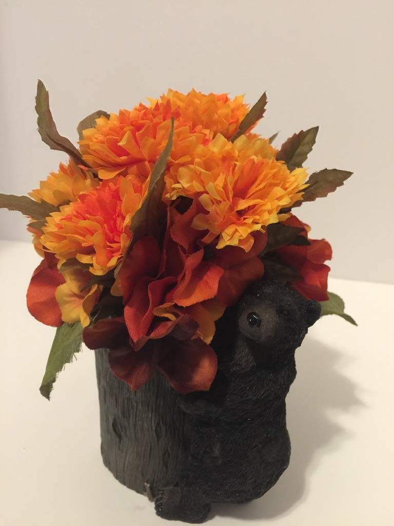ANIMAL FUN - RESIN BLACK BEAR CLIMBING A TREE VASE - MULIT-COLOR-TONED ORANGE HYDRANGEAS & ORANGE AND YELLOW CARNATIONS - UNIQUE GIFT - SMALL RESIDENCES - DORM ROOMS - OFFICES - ANY OCCASSION