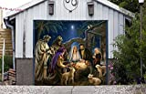 Holy Night Decor Garage Door Banner Jesus Nativity Scene Single Garage Door Covers Billboard House Garage Merry Christmas Full Color Decor 3D Effect Print Mural Banner Size 83 x 89 inches DAV199