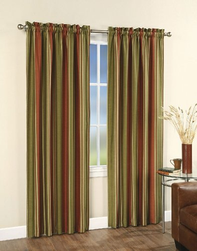 (CHF & You Faux Silk Stripe Lined Curtain Panel , Red, 42-Inch X 84-Inch)