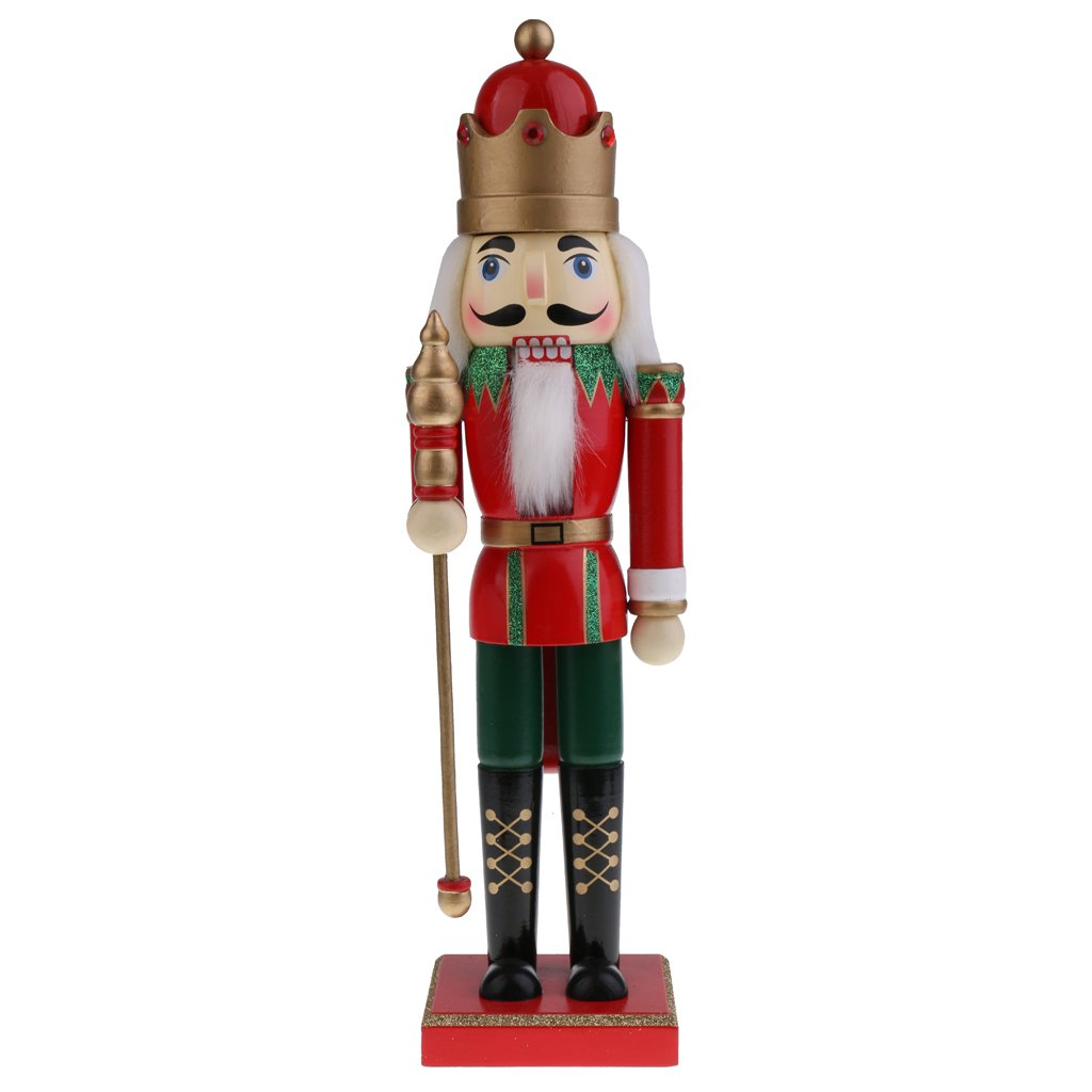 Jili Online 15'' Handcraft Wooden Nutcracker Figurine Prince Puppet Christmas Ornaments Friends Kids Gifts Office Home Decoration and Display