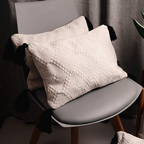 - HiiARug White Lumbar Pillow Cover with Tassels, Modern Minimalist Throw Pillow Covers, Fabric Woven Textured Thick Lumbar Throw Pillow Cover for Bedroom/Sofa/Car Invisible Zipper 2-Pack 12 by 18 Inch