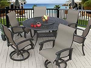 """Patrimonio vida al aire libre Barbados Sling de aluminio fundido al aire libre Patio 7piezas Juego de comedor con sillas de comedor–mesa redonda (60""""(4) y (2): giratorio–acabado de bronce antiguo"""