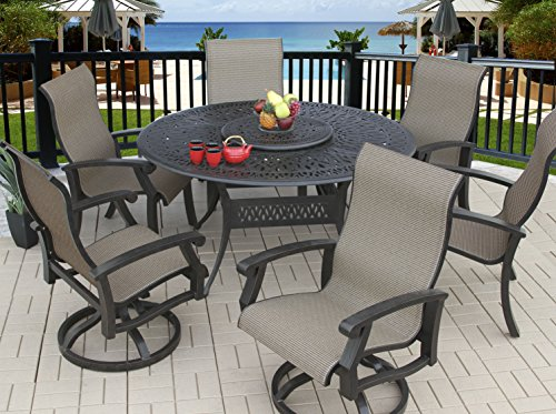 Heritage Outdoor Living Cast Aluminum Barbados Sling Outdoor Patio 7pc Dining Set with 60