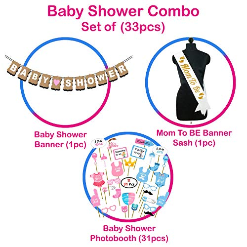 Party Propz Baby Shower Decorations Props Material Set-33Pcs Banner,Sash and Photo Booth Props for Gender Reveal,Maternity,Balloons Babyshower Mom to Be Photoshoot Materials Products Items Supplies
