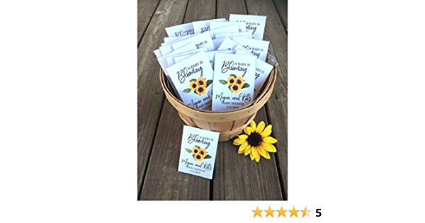 Cutest Favors Ever! Sunflower Baby Girl Shower Baby Sprinkle Twins Shower Sunflowers Seeds Party Favors Seed Packets