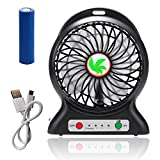 Lurico 4-inch Portable Mini Electric USB Rechargeable Fan 3 Speeds 18650 Desktop Summer Cooler Fan USB Power Bank Fan with LED Lights with 18650 Rechargeable Battery and Micro USB Charge Cord (Black)