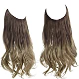 SARLA Ombre Halo Hair Extension Brown to Ash Blonde Curly Long Synthetic Hairpiece 16 Inch 3.9 Oz Hidden Wire Headband for Women Heat Resistant Fiber No Clip (M03&8T16)
