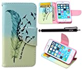 iPhone SE Case, iPhone 5S Case Wallet, iYCK Premium PU Leather Flip Folio Carrying Magnetic Closure Protective Shell Wallet Case Cover for iPhone 5/5S/SE/5SE with Kickstand Stand - Feather Bird