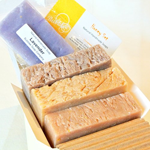 Natural Handmade Soap Gift Set – Honey Almond, Oatmeal Milk & Honey, Cinnamon Honey – with Natural / Organic Ingredients