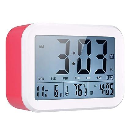 Decdeal Reloj Despertador Digital con Voces de Sensor LCD Luz Nocturna con Calendario 3 Alarmas y