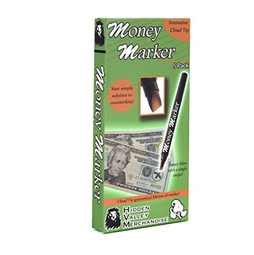 Money Marker (5 Counterfeit Pens) --- Counterfeit Bill Detector Pen with Upgraded Chisel Tip - Detect Fake Counterfit Bills, Universal False Currency Pen Detector - Checker Box