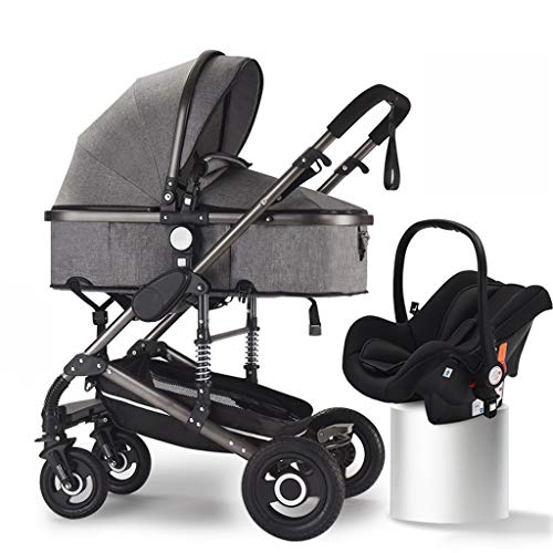 JIAX Pram Travel System 3 in 1,Adjustable High View Pram, Umbrella Stroller Travel System with Baby Basket and Anti-Shock Springs,Infant Carriage Pushchair (Color : Gray)