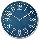Cheap Colonial Blue Wall Clock, Available in 8 sizes, Most Sizes Ship 2-3 days, Whisper Quiet.