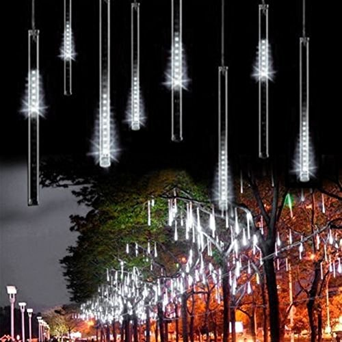 OMGAI Upgraded 30cm 8 Tubes 144 LED Meteor Shower Rain Lights, Drop/Icicle Snow Falling Raindrop Cascading lights for Wedding party Christmas, White ( US plug - IP44 Waterproof )