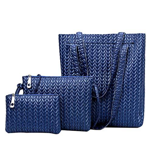 Borsa Blu elegante Dexinx di Signore grande tracolla a pezzi Borsa Giovani capacità Set Borsa durevole 3 a tracolla q7RwT0q