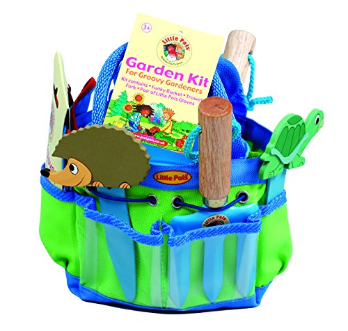 Tierra Garden 7-LP381 Little Pals Kids Junior Garden Kit with Hand Trowel, Hand Fork, Gloves, Plant Markers, and Bucket, Blue by Tierra Garden
