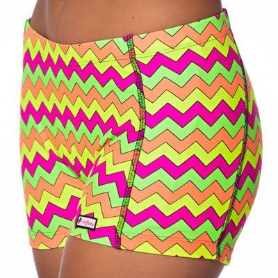 CrazyPants Girls Activewear Shorts - Cheerleader, Volleyball, Booty Shorts, Workout, Yoga (Youth-XS, Neon-Chevron) ()