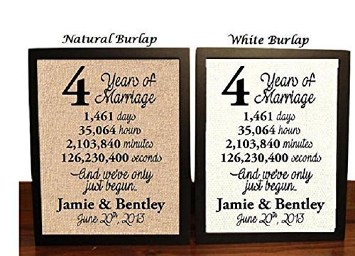4 Year Anniversary Burlap Print | 4th Anniversary | 4th Anniversary Gift | 4 Years Together | 4th wedding Anniversary | 4th Anniversary gift for her | 4 Years of Marriage