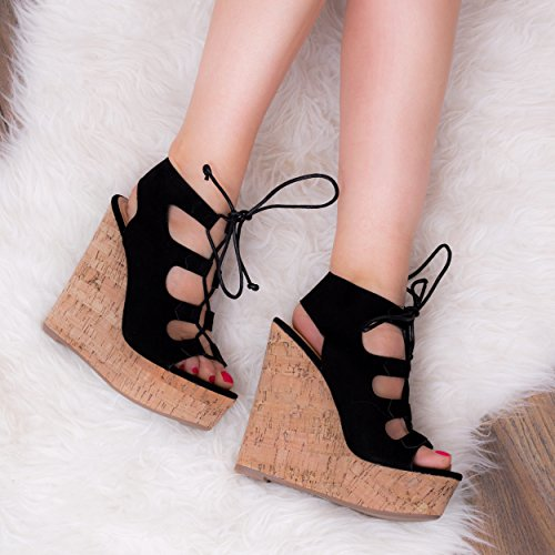 Spylovebuy Striking Women's Platform Wedge Heel Lace up Sandals Shoes Black Suede Style ByC0QX4