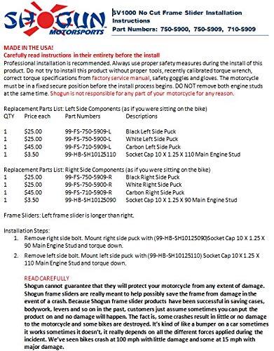 2003-2007 Suzuki SV1000 SV1000S Black No Cut Frame Sliders 750-5909 MADE IN THE USA Shogun Motorsports