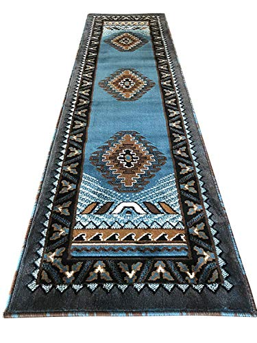 Kingdom Southwest Native American Runner Area Rug Blue & Brown Design D143 (2 Feet X 7 Feet)