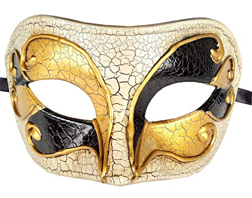 Mens Masquerade Mask Checkered Cracked Vintage Halloween Mardi