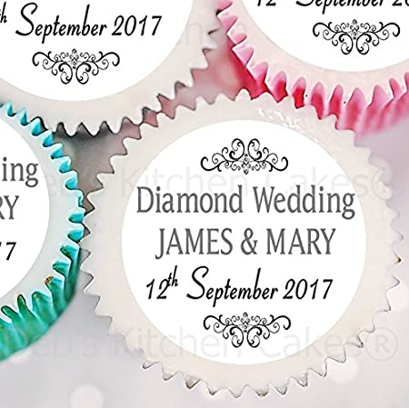 Personalised Diamond Wedding Cupcake Toppers