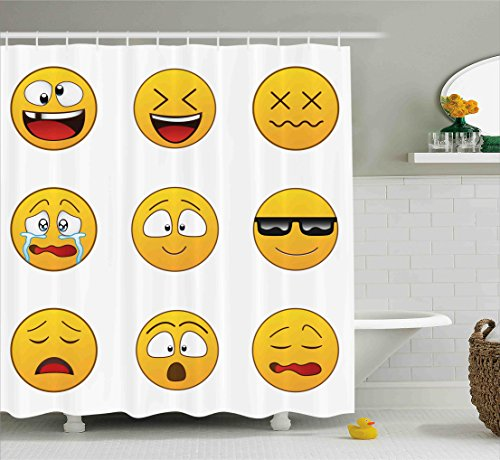 Emoji Shower Curtain by Ambesonne, Happy Smiley Angry Furious Sad Face Expressions with Glasses Moods Cartoon Like Print, Fabric Bathroom Decor Set with Hooks, 70 Inches, Yellow (Smiley Fabric Face)