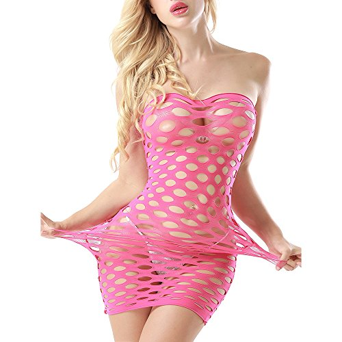 General Sexy Costumes Womens Mesh Chemise Dress Fishnet Lingerie Babydoll Nighties Minidress Perspective Lingerie (Pink)]()