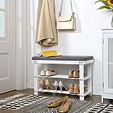 SONGMICS Bamboo Shoe Bench, 2-Tier Shoe