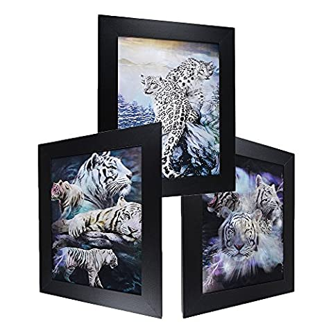 3D Lenticular Framed Animal Picture - White TIger & Cheetah - Snow White Pictures