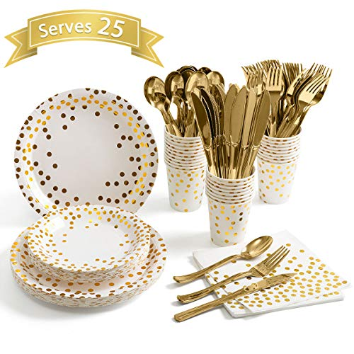 175 Piece Gold Party Supplies Set - Disposable Paper Dinnerware Serves 25 - Gold Dot Paper Plates Napkins Cups with Gold Plastic Silverware Sets for Wedding Bridal Shower Baby Shower Birthday Parties (Dinnerware Dot Gold)