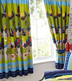 Diggers Tractor Bull Dozer Kids Boy Childrens Lined Curtains Set 66' X 54' 137Cm