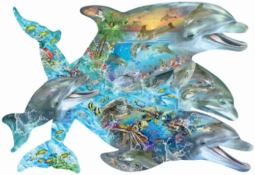 1000 Piece Shaped Jigsaw Puzzle - Song of the Dolphins a 1000-Piece Jigsaw Puzzle by Sunsout Inc.