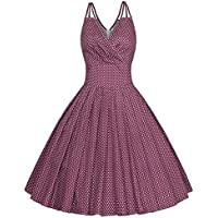 434478e068 Tecrio Vintage 1950 s Deep V-neck Sleeveless Slip Cocktail Party Swing Dress