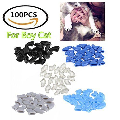 KAHIOE 100Pcs Cat Nail Caps - Boy Girl Cat Soft Paws of 5 5Pcs Adhesive Glue and 5pcs Applicator with Instructions (for boy cat, M) ()